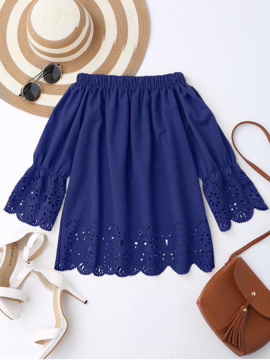 Blusa de Hombros al Aire con Encaje - Azul Zafiro XL