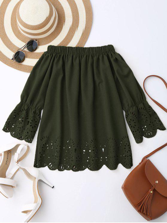 fashion Off The Shoulder Laser Cut Top - ARMY GREEN S