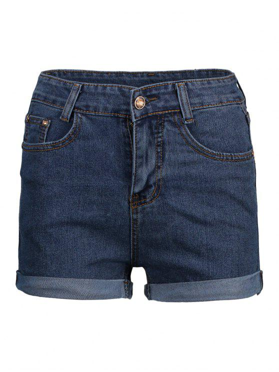 Pantaloncini in denim a vita alta - Blu Scuro XL