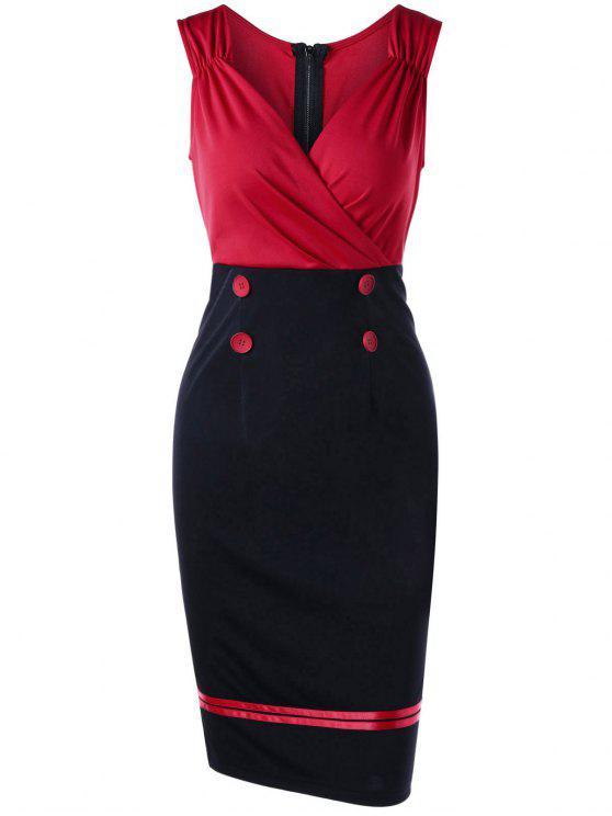 فستان بلا أكمام غارق الرقبة - أحمر M