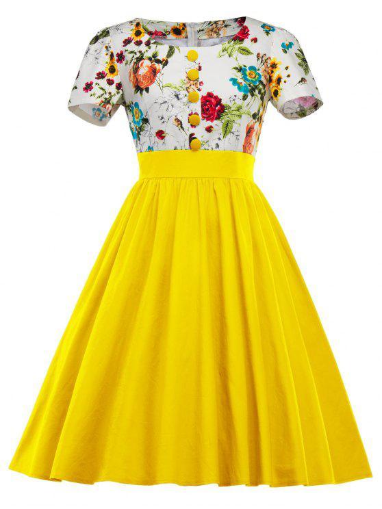 فستان سوينغ طباعة الأزهار - الأصفر M