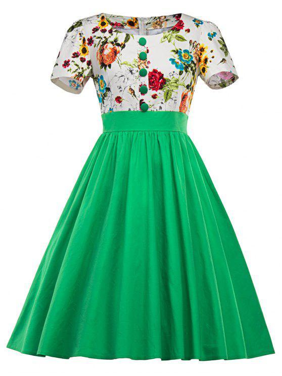 فستان سوينغ طباعة الأزهار - أخضر M