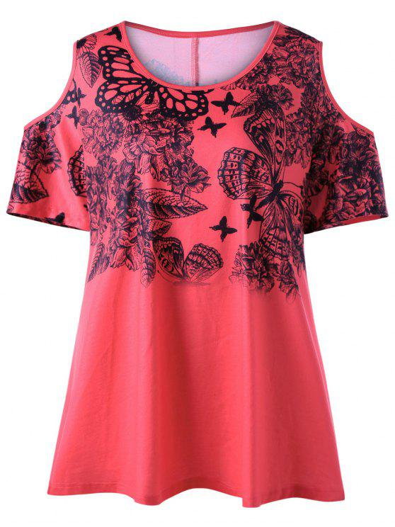 69595d94424 27% OFF  2019 Plus Size Butterfly Print Cold Shoulder T-shirt In RED ...