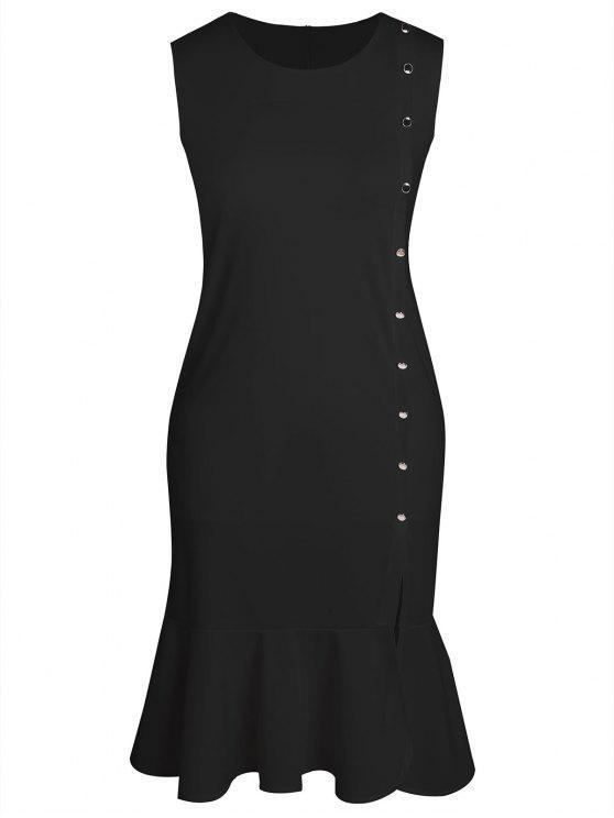 فستان الحجم الكبير بلا أكمام - أسود 3XL