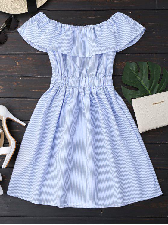 hot Open Back Striped Off The Shoulder Dress - BLUE L