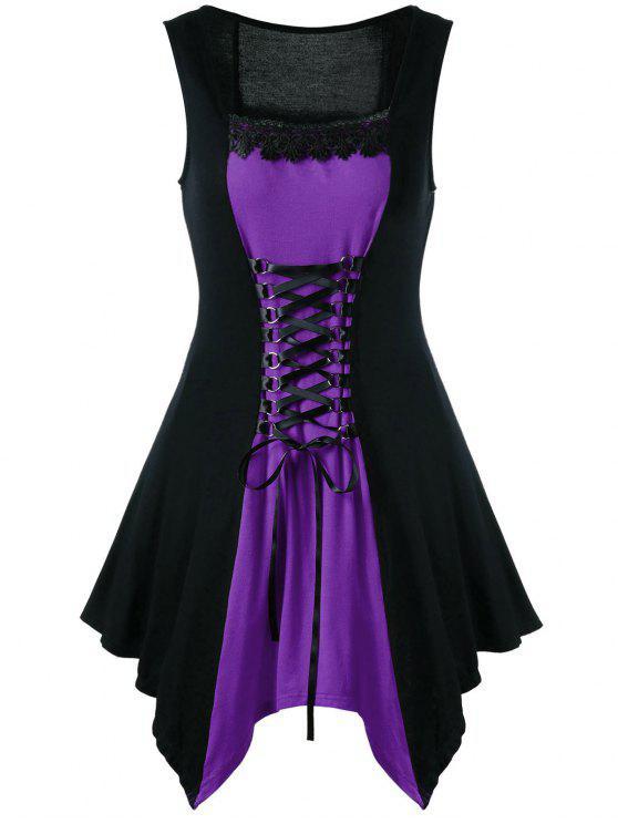 ca575f9eb2e4 29% OFF] 2019 Plus Size Lace Trim Lace Up Sleeveless Dress In PURPLE ...