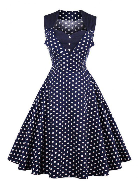 فستان البولكا نقطة زر كلاسيكي - الأرجواني الأزرق L