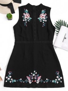 Floral Embroidered Lace Trim Mini Dress - Black M