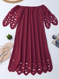 Vestido De Encaje Con Vuelo Con Hombros Al Aire - Burdeos M