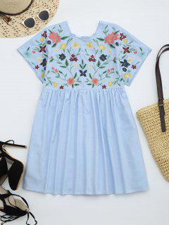 Floral Embroidered Chambray Skort Romper - Light Blue M