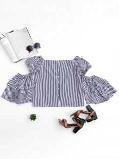 Cut Out Sleeve Off Shoulder Stripes Top - Rayure S