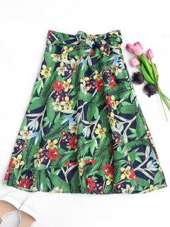 Floral Bowknot Midi A-Line Skirt - Floral L