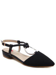Buckle Strap Metal Ring Flat Shoes - Black 39