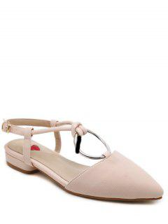 Buckle Strap Metal Ring Flat Shoes - Nude Pink 38