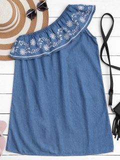 Robe Décontractée En Une épaule Ruffles Brodées - Bleu Toile De Jean S