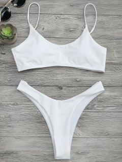 Padded High Cut Bralette Bikini Set - White S