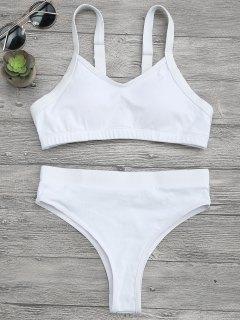 High Cut Bralette Bikini Top And Bottoms - White M