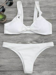 Dessus Et Bas En Bikini à Nouets Texturés - Blanc S