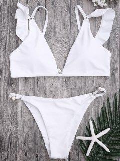 Plunge Adjustable String Bikini Set - White L