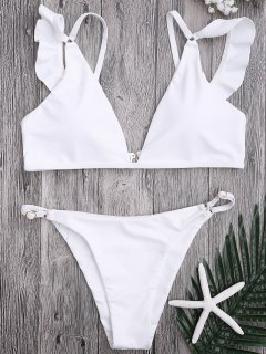 Plunge Adjustable String Bikini Set - White S