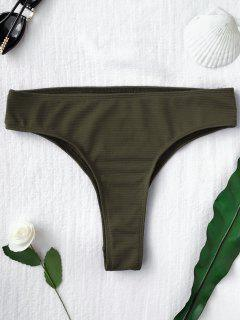 Texturierte Hohe Bikini-Unterteile - Dunkelgrün M