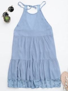 Halter Tiered Beach Cover Up Dress - Light Blue S