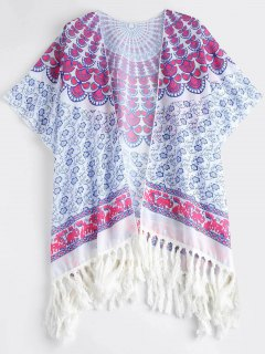 Tassels Poncho Beach Cover Up - Purple