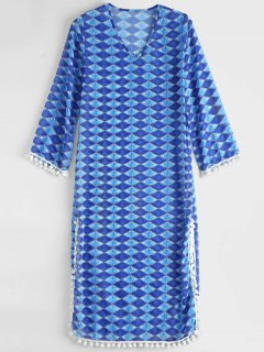 Diamond Chiffon Beach Cover Up Dress - Blue