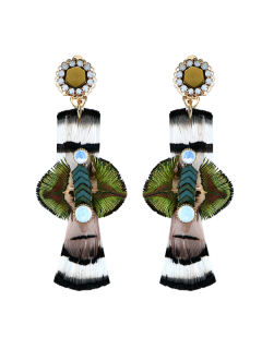 Feather Floral Statement Drop Earrings - Green