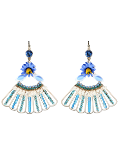 Rhinestone Fringed Flower Dangle Earrings - Blue