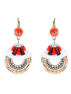 Faux Turquoise Rhinestone Boucles D'oreilles En Crochet Perlé - Rouge