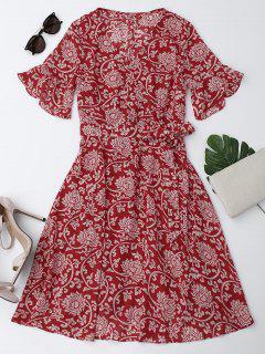 Robe En Mousseline De Soie à Manches Cloches Imprimé De Motif Floral - Rouge Xl
