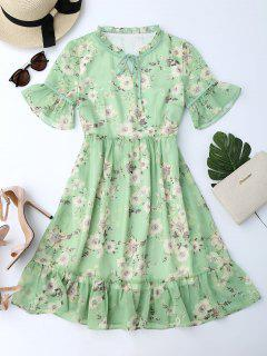 Ruffles Tiny Floral Chiffon Dress - Light Green Xl
