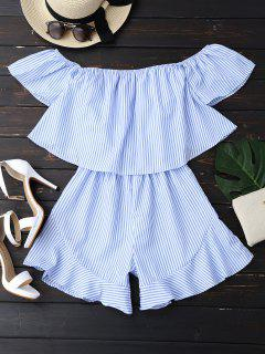 Ruffle Striped Off The Shoulder Romper - Blue L