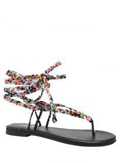 Weave Multicolor Tie Up Sandals - Black 39