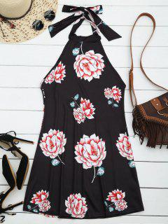 Halter Floral Open Back Dress - Black Xl