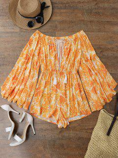 Printed Flare Sleeve Off Shoulder Beach Romper - Orange M