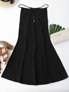 Open Back Strappy Shift Dress - Black M