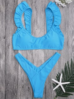 Ruffle Strap High Cut Thong Bikini Set - Blue M