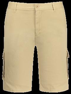 Multi Pockets Bermuda Cargo Shorts - Khaki 35
