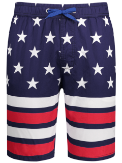 American Flag Board Shorts - Purplish Blue 3xl