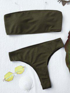 Textured High Leg Bandeau Bikini Set - Green S