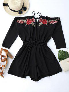 Floral Applique Cold Shoulder Romper - Black Xl