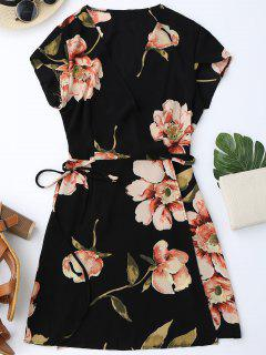 Cap Sleeve Floral Mini Wrap Dress - Black L