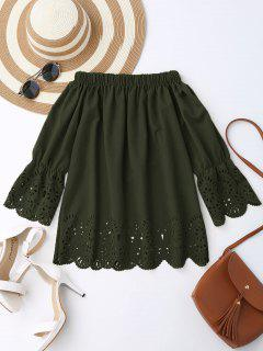 Off The Shoulder Laser Cut Top - Army Green S