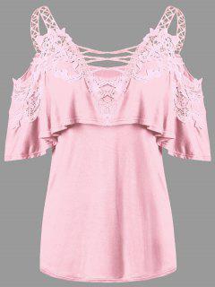 Gewicktes Schulterfrei T-Shirt Mit Applikationen - Pink 2xl