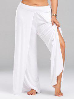 Plus Size Palazzo Pants With High Split - White 5xl
