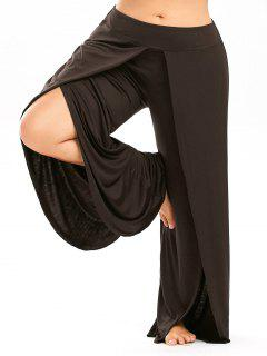 Plus Size Palazzo Pants With High Split - Coffee Xl
