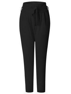 Tie Waist Skinny Pants - Black M