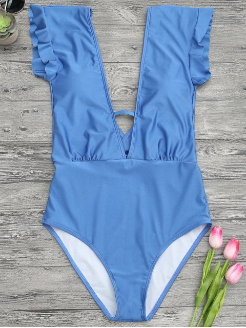 trendy Frilled Plunge One Piece Swimsuit - BLUE L Mobile